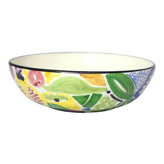 1960s Mid-Century Hand-Painted Botanical Portuguese Majolica Fruit Bowl For Sale