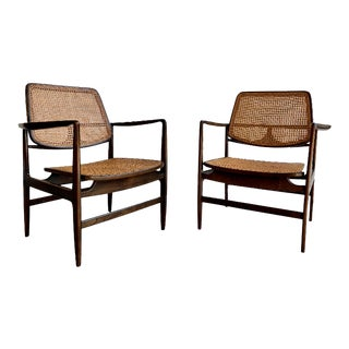 Rare Mid Century Modern 'Oscar' Caned Armchairs by Sergio Rodrigues, a Pair For Sale