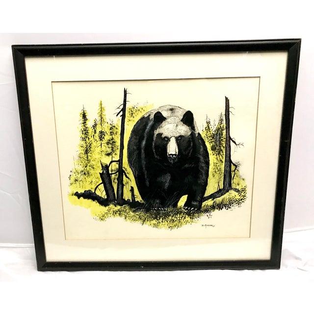 Vintage Ink & Watercolor Black Bear Painting - Image 2 of 10
