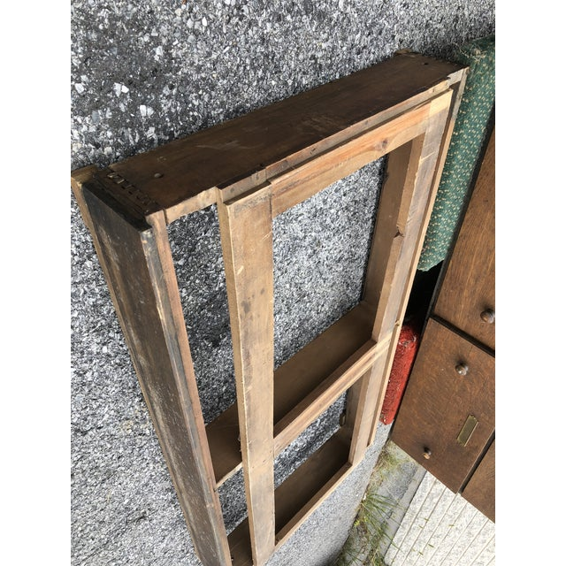 Large Vintage Industrial Wood Hardware Cabinet For Sale - Image 12 of 13