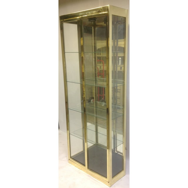 1980's Style Brass and Glass Cabinet - Image 4 of 8