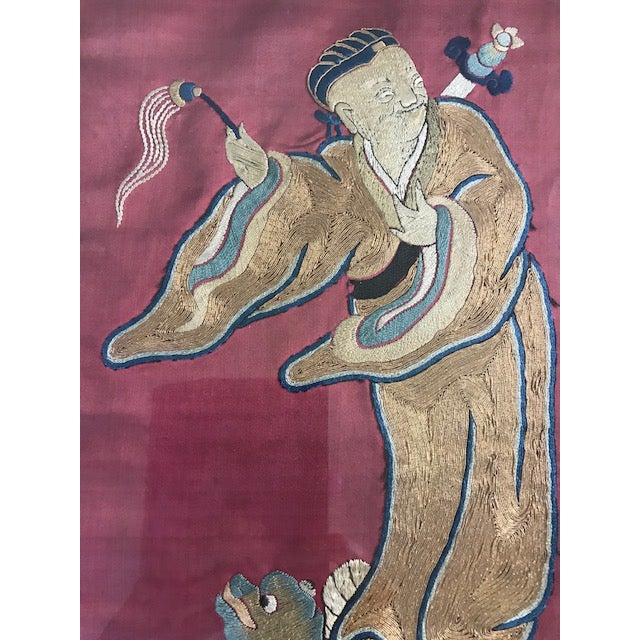 Bronze Antique Chinese Embroidered Mythological Wall Hangings, Panels on Silk - a Pair For Sale - Image 7 of 9