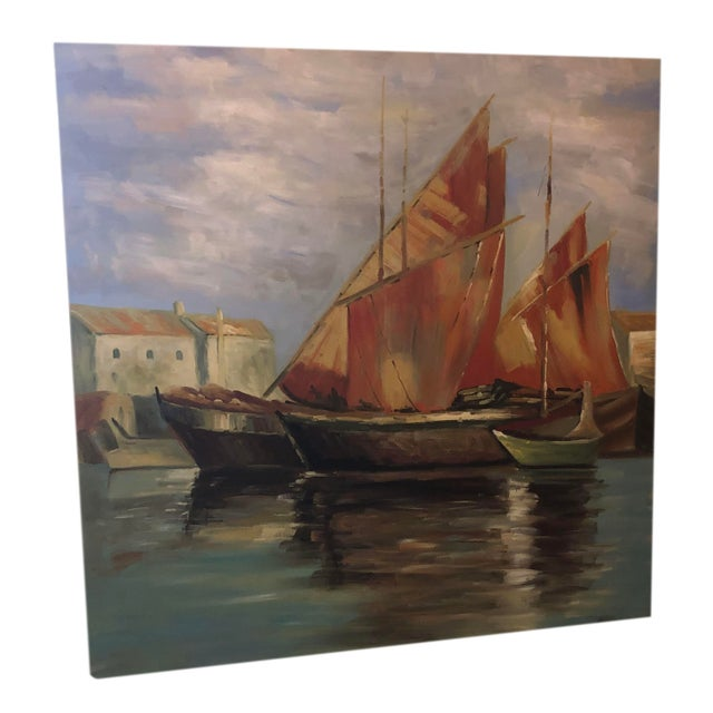 A mid century painting on canvas of sailboats off the coastline. From France, 1970s. Unframed.