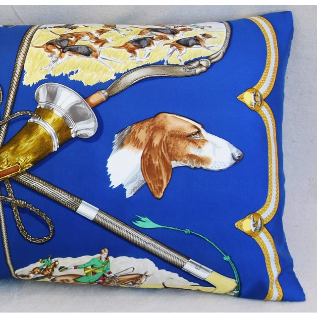 """Abstract Hermes Le Laissed Courre Hunt & Hounds Silk Feather/Down Pillow 34"""" x 17"""" For Sale - Image 3 of 12"""