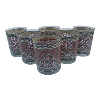 Neiman Marcus Graphic Pattern Lowball Glasses- Set of 6 For Sale