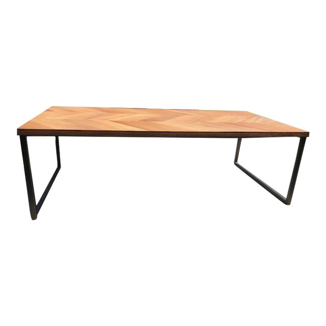 MidCentury Modern Cb Wood Chevron Coffee Table Chairish - Cb2 outdoor coffee table
