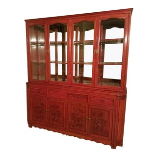 Hand Carved Rosewood Imperial Dragon China Cabinet For Sale