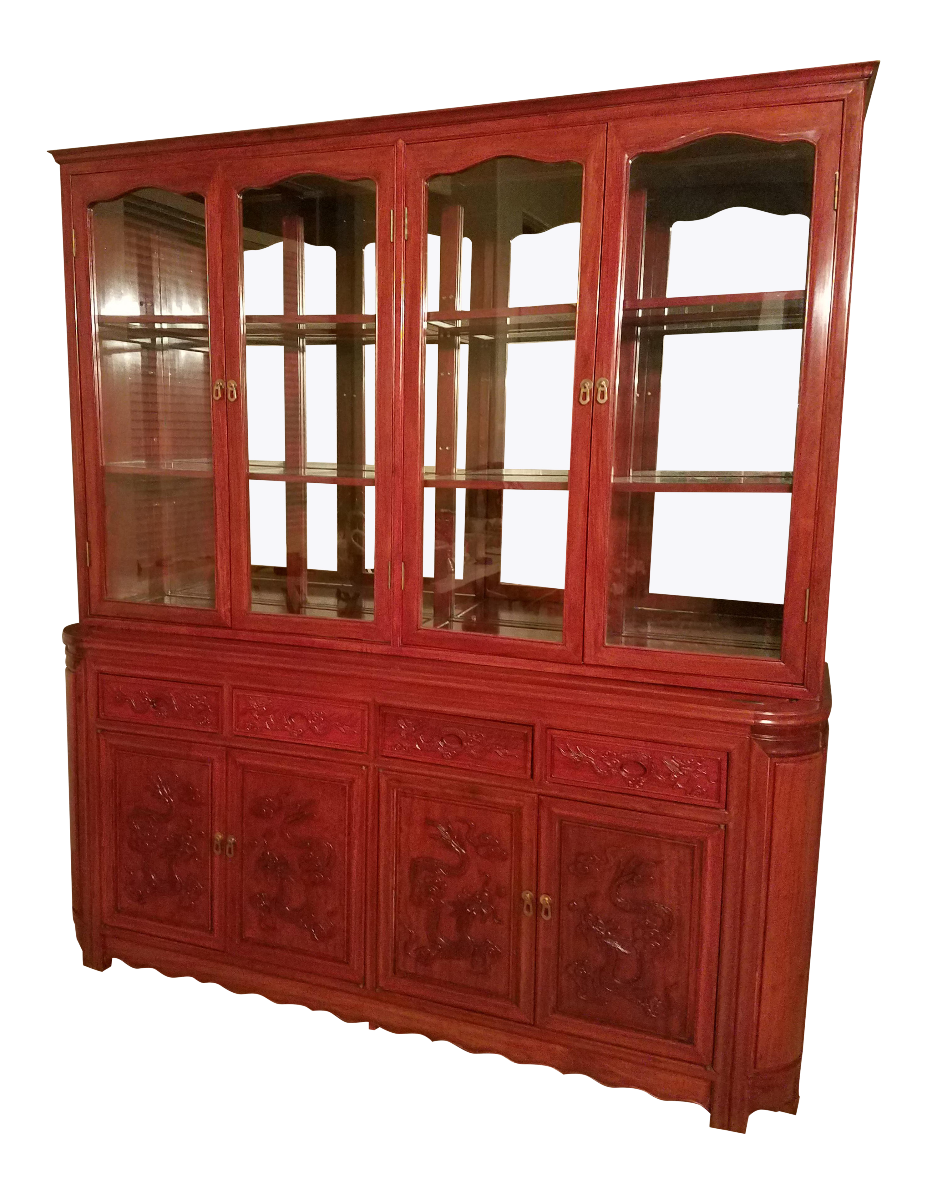 Hand Carved Rosewood Imperial Dragon China Cabinet   Image 1 Of 6