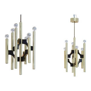 Gaetano Sciolari Brass and Black Chandelier, Italy 1970s For Sale