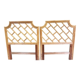 Chinese Chippendale Bamboo Rattan Twin Headboards- a Pair