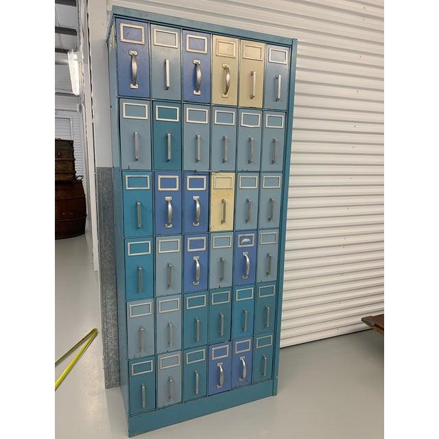 Vintage Industrial 36 Drawer Filing Cabinet For Sale In Houston - Image 6 of 7