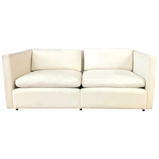 Charles Pfister for Knoll Settee in Off-White Canvas For Sale