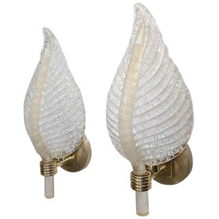 1950s Mid-Century Modern Barovier Murano Rugiadoso Leaf Wall Sconces - a Pair For Sale