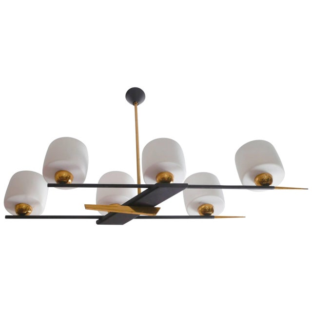 Metal Arlus Brass and Opaline Chandelier, 1960s For Sale - Image 7 of 7