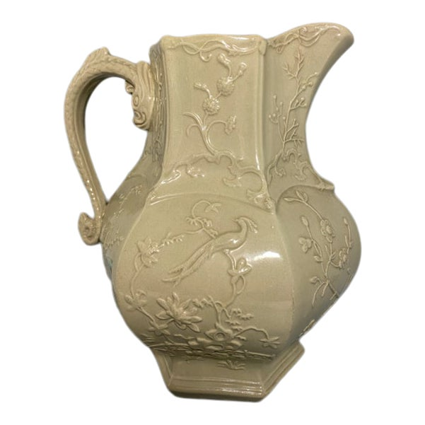 Antique Irwin and Lane Chinoiserie Bas-Relief Mason's Ironstone Pitcher For Sale