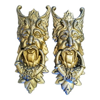 A Pair Massive Cast Iron Bronze Gold Mythical Creature Giant Door Knockers For Sale