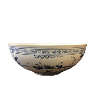 "LG Eggshell B & W Porcelain Bowl 18""D"