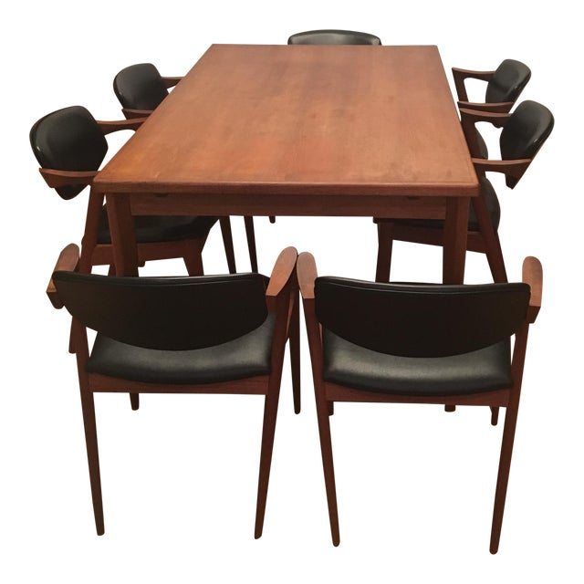 Brdr Furo Danish Dining Table & Kai Kristiansen Teak Chairs - Set of 8 For Sale