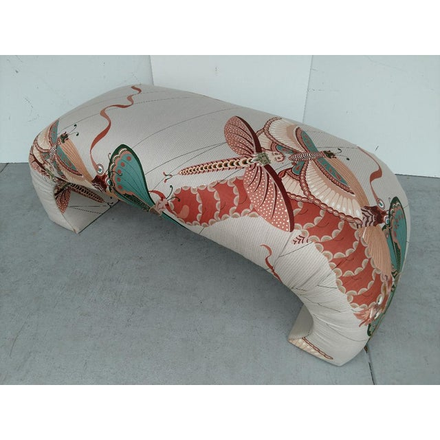 1970's Modern Asian Style Upholstered Bench For Sale - Image 12 of 12