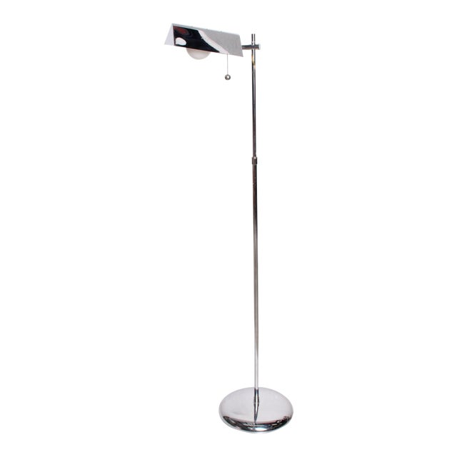 Mid-Century Modern Chrome Reading Floor Lamp After Koch Lowy For Sale