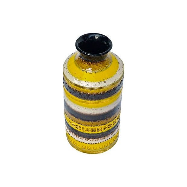 A 1910-1950's Italian, Mid-Century Modern striped, earthen, textured and patterned vase. It has varying stamped geometric...
