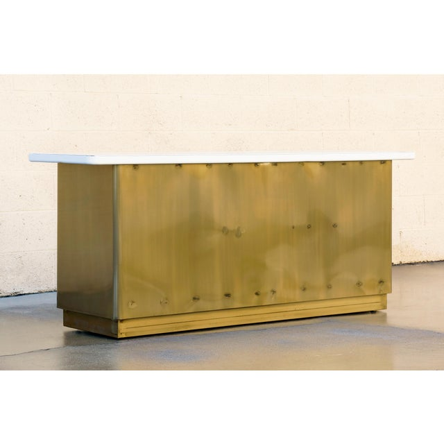 Custom Tanker Style Steel Credenza in Brass and White Finish For Sale In Los Angeles - Image 6 of 7