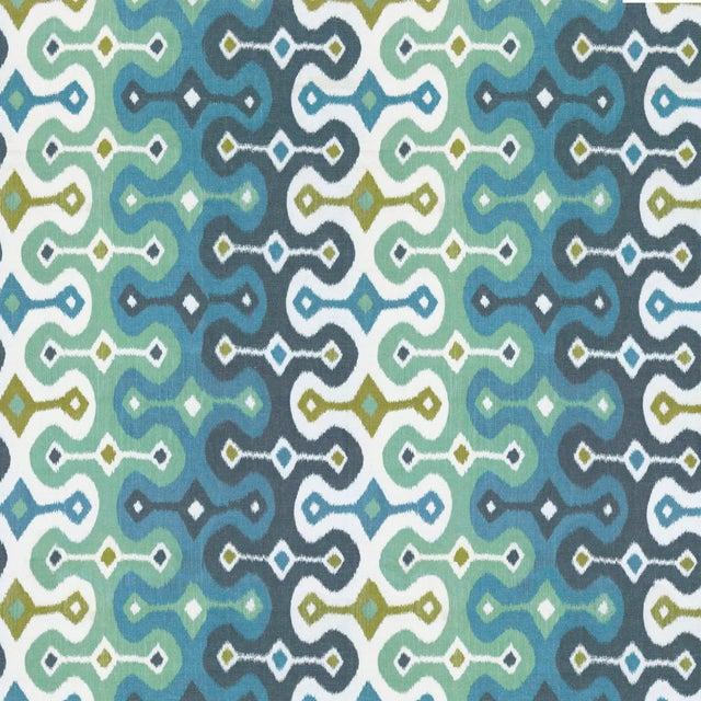Contemporary Sample - Schumacher X Martyn Lawrence Bullard Darya Ikat Sidewall Wallpaper in Sky For Sale - Image 3 of 3