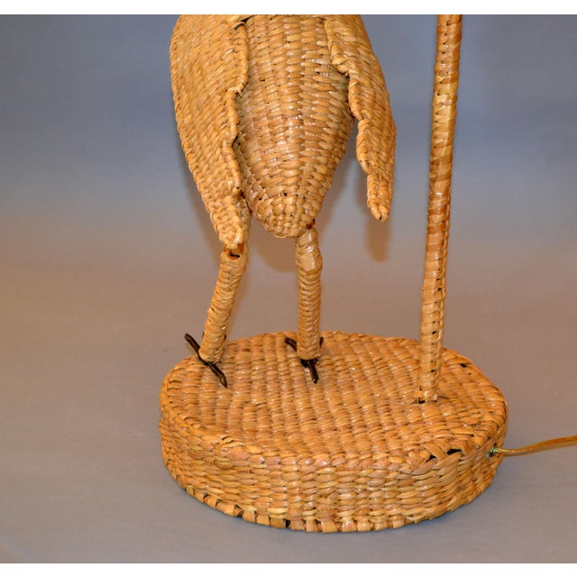 Gold Vintage Mario Lopez Torres Egret Wicker Rattan Table Lamp, 1974 For Sale - Image 8 of 13