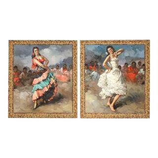 Framed Pair of Francesco Rodriguez San Clemente Oil Paintings For Sale