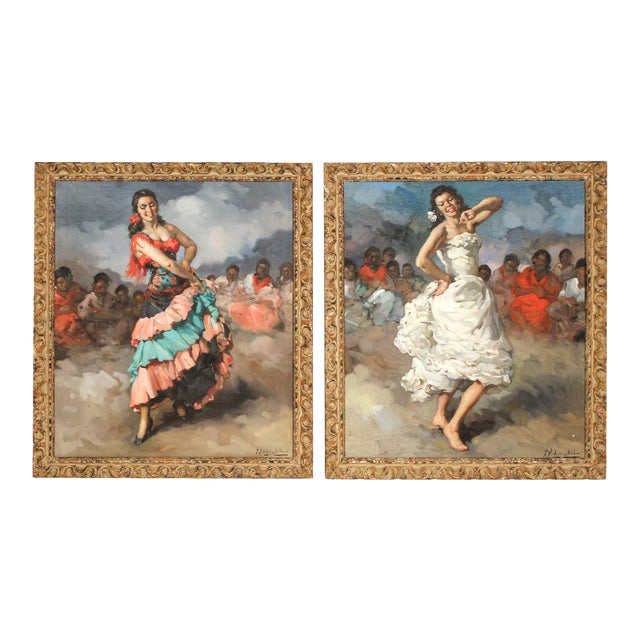 Francesco Rodriguez San Clemente Framed Oil Paintings - a Pair For Sale