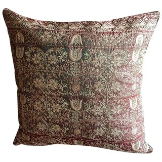 Silk Emnroidered Chikan Pillow For Sale