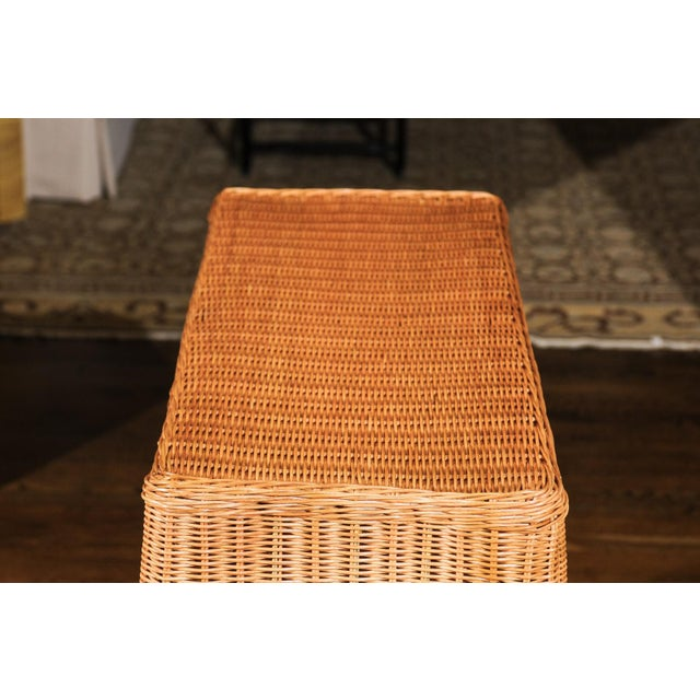An exquisite, difficult to find vintage Trompe L'oiel Wicker console table. Fabulous design, craftsmanship and execution -...