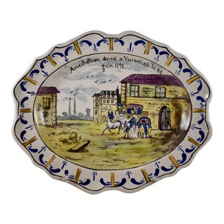 French Faïence Revolution Commemorative Platter, Arrestation du Roi For Sale
