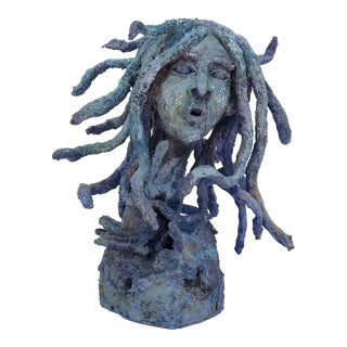 1980s Vintage Anne Art Handmade Abstract Female Bust Sculpture For Sale