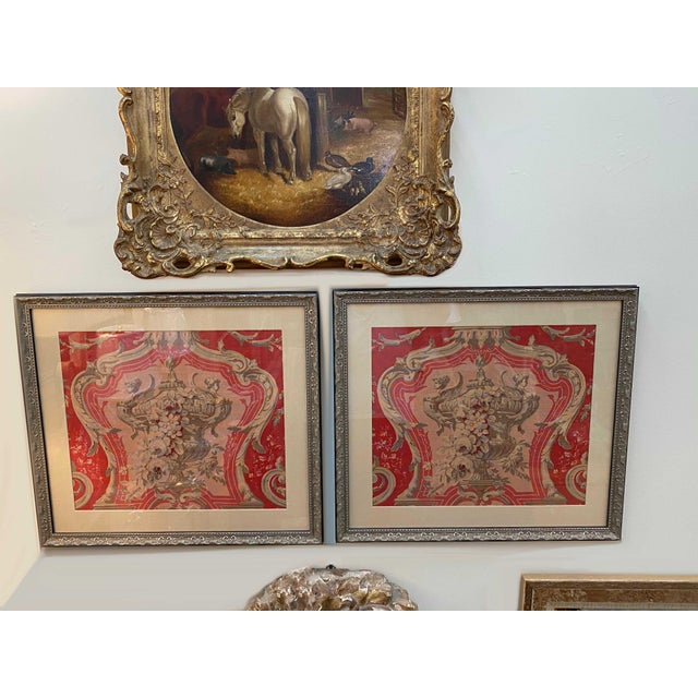 Vintage French Framed Fabric For Sale In Dallas - Image 6 of 7