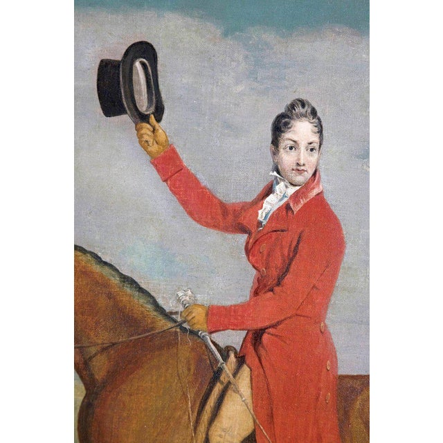 19th Century Oil on Canvas English Hunting Scene of Rider on Horse With Hounds For Sale In Dallas - Image 6 of 13