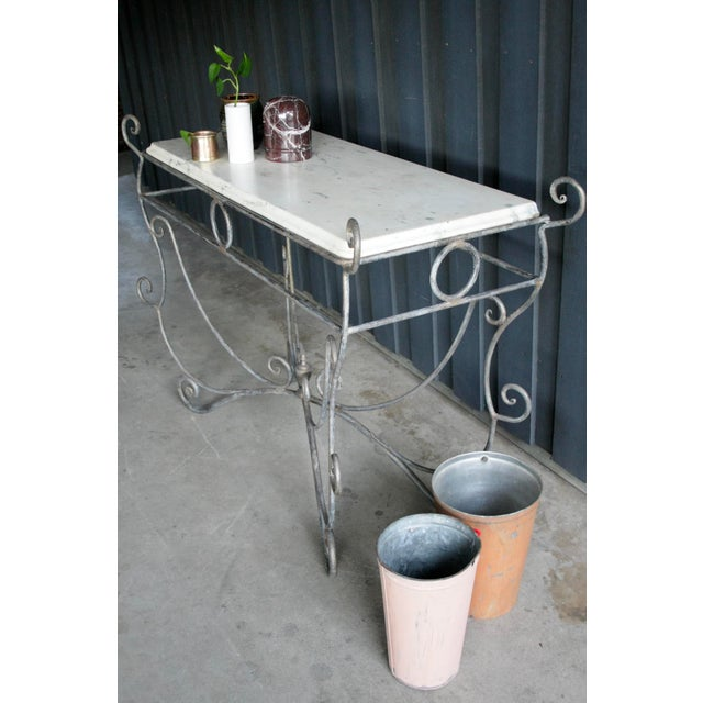 1960s French Scrolled Iron Butcher / Pastry Table With White Marble Top For Sale - Image 5 of 13
