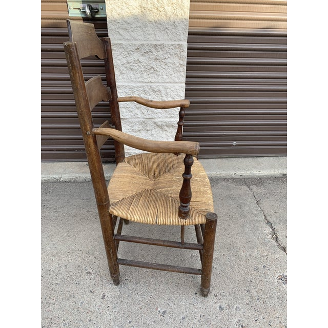 Brown Early 19th Century French Ash Wood Rush Seat Armchair For Sale - Image 8 of 11