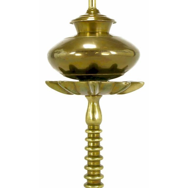 French Moderne Solid Brass Segmented Table Lamp For Sale - Image 4 of 6