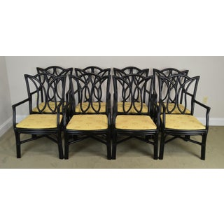 McGuire Style Set 8 Black Rattan Bamboo Dining Chairs Preview