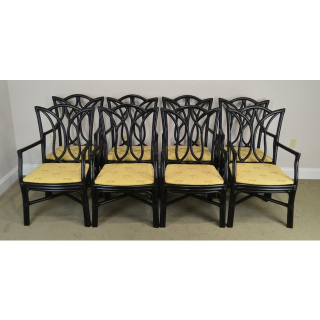 """High Quality Set 8 Painted Rattan Frame Rawhide Laced Dining Chairs with Palm Tree Upholstered Seats H: 38"""" x W: 22.2"""" x..."""