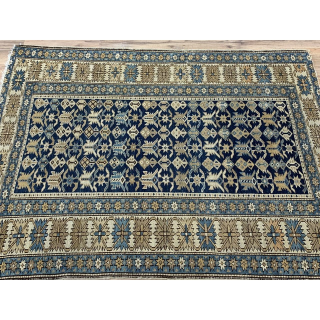 Traditional Late 19th Century Antique Russian Caucasian Rug- 3′10″ × 5′3″ For Sale - Image 3 of 11