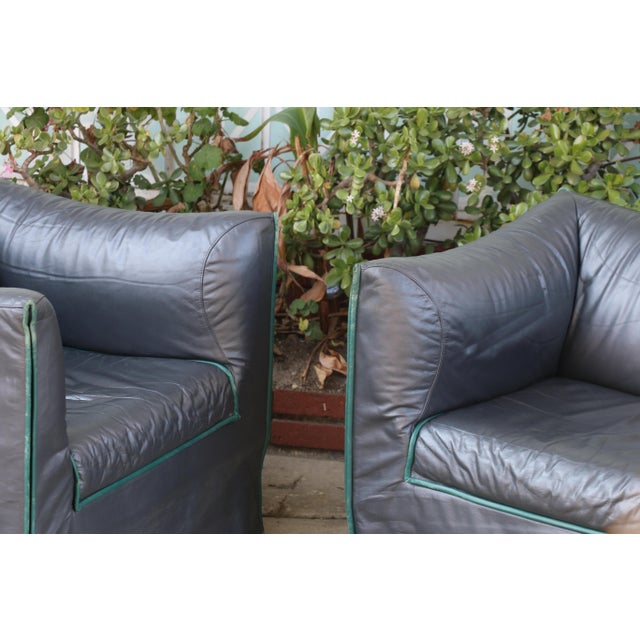 1980s Vintage Italian Leather Lounge Chairs- A Pair For Sale In Los Angeles - Image 6 of 13