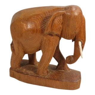 Vintage Carved Wood Elephant Statuary