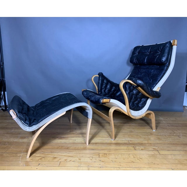 "Bruno Mathsson ""Pernilla"" Lounge Chair + Ottoman, Sweden For Sale - Image 11 of 11"