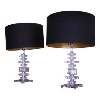 Vintage Lucite Table Lamps - A Pair For Sale