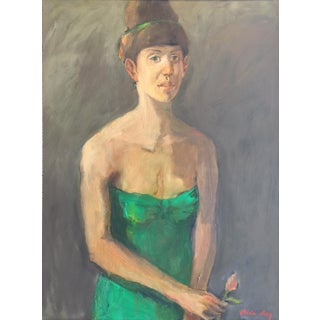 "Fry Contemporary Framed Portrait ""Green Dress"" For Sale"