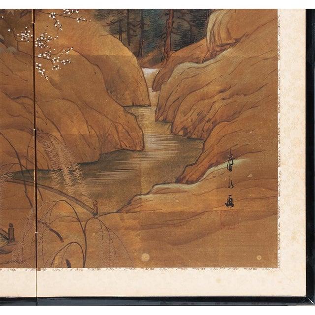 Gold 1920s Vintage Japanese Landscape Scene Byobu Screen For Sale - Image 8 of 13