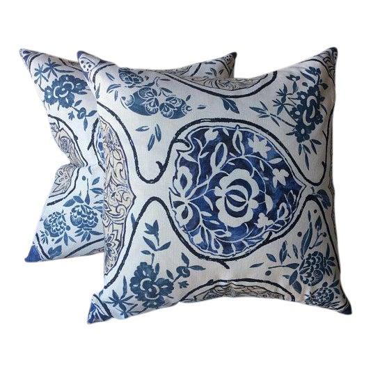 """Schumacher """"Katsugi"""" Blue Pillows - a Pair For Sale"""