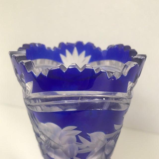 Vintage Cobalt Blue To Clear Cut Glass Vase Chairish